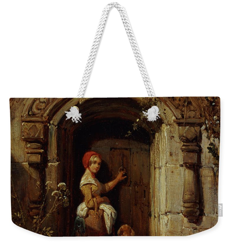 Fairy Tale Weekender Tote Bag featuring the painting Little Red Riding Hood by Wijnand Joseph Nuyen