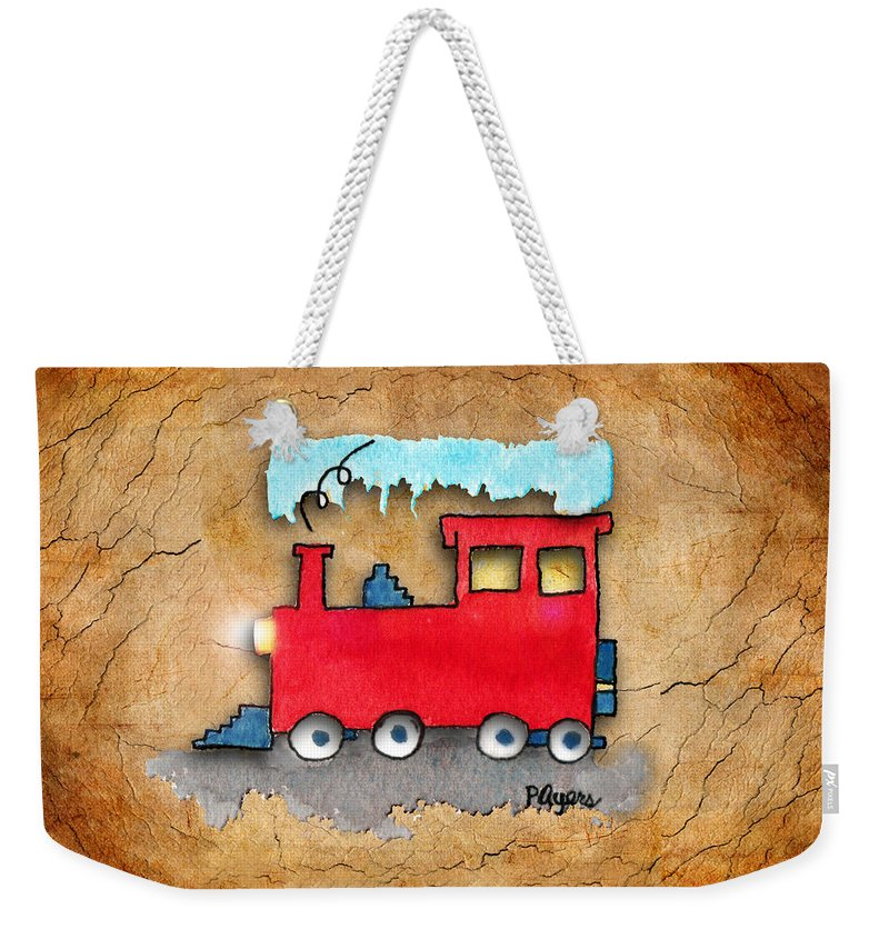 Watercolor Weekender Tote Bag featuring the painting Little Red Train by Paula Ayers