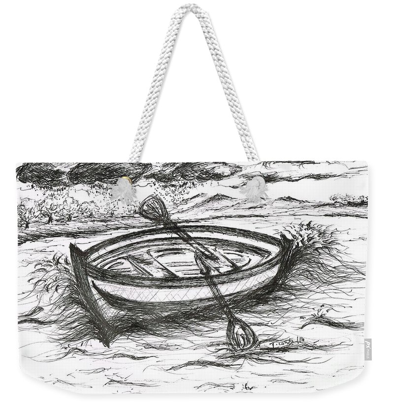 Teresa White Weekender Tote Bag featuring the drawing Little Rowing Boat by Teresa White