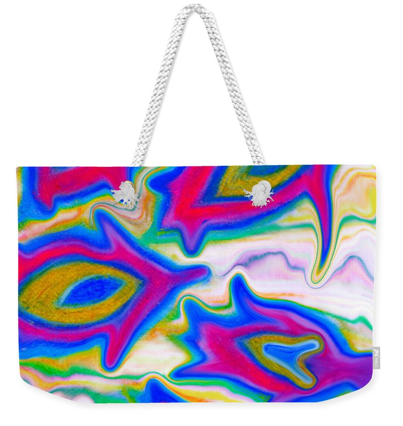 Abstract Turtles Weekender Tote Bag featuring the painting Little Sea Turtles Swimming by Marie Jamieson