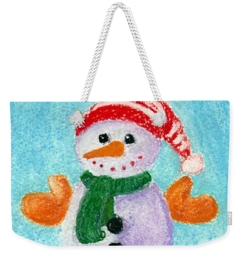 Decorative Weekender Tote Bag featuring the painting Little Snowman by Anastasiya Malakhova