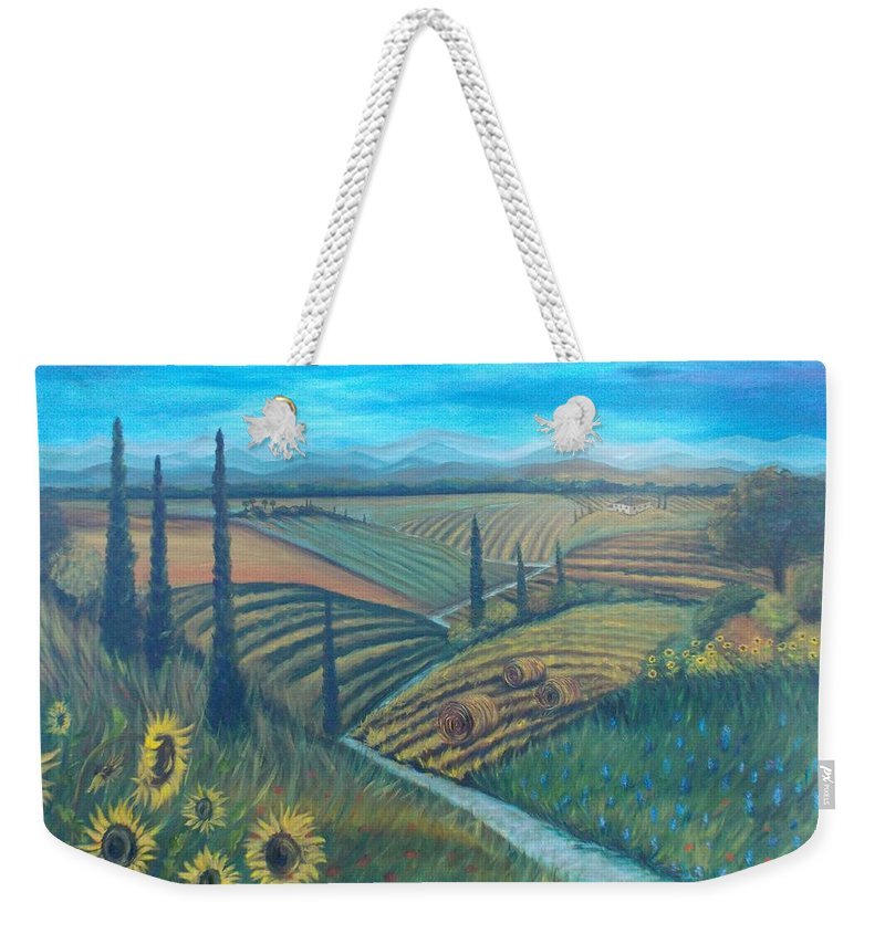 Landscape Weekender Tote Bag featuring the painting Little Tuscany by Julie Cranfill