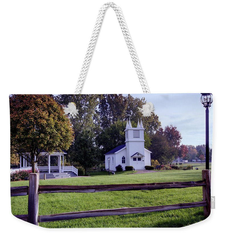 Immanuel Lutheran Church Weekender Tote Bag featuring the photograph Little Village Chapel Of The Immanuel Lutheran Church by Paul Cannon