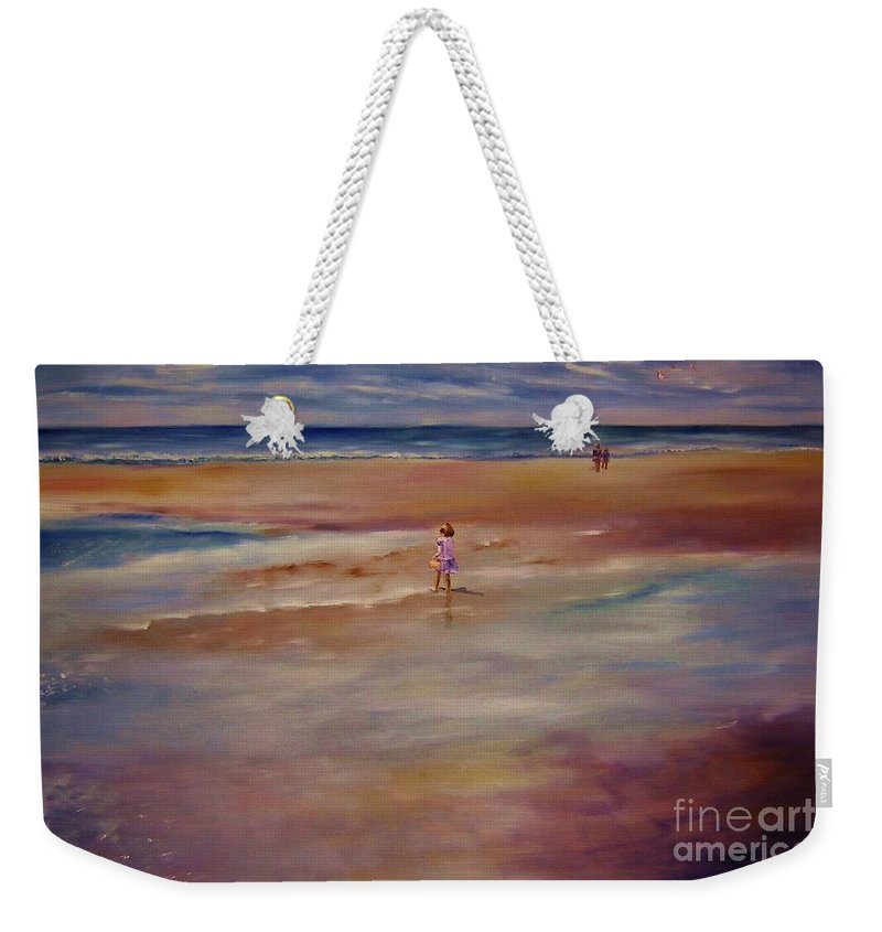 Child Weekender Tote Bag featuring the painting Little Wanderer by Sandy Ryan