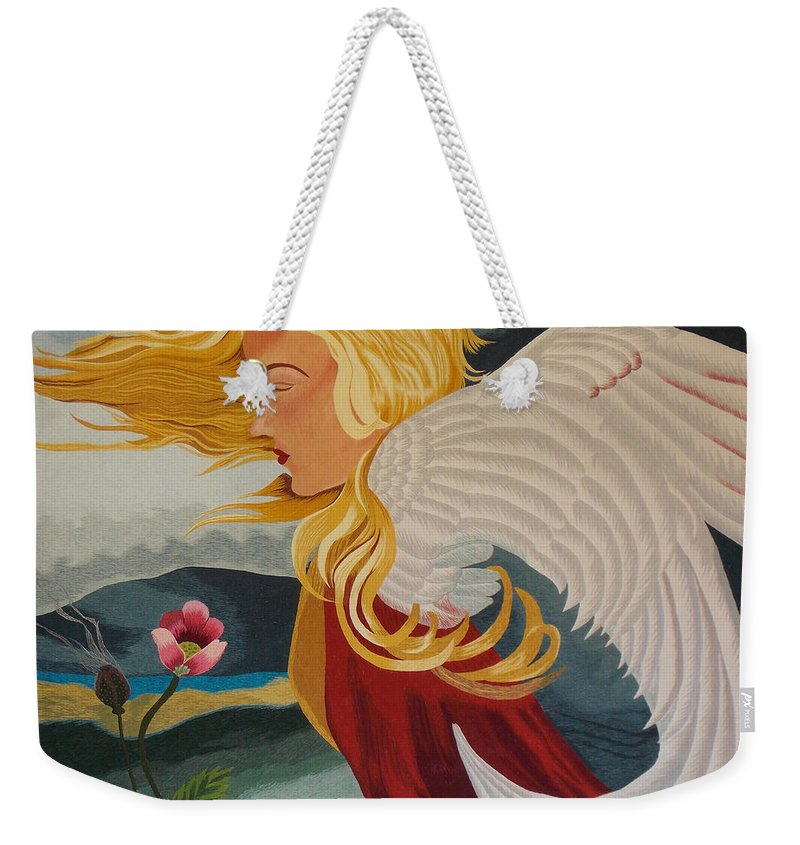 Abstract Weekender Tote Bag featuring the tapestry - textile Little Wings Hand Embroidery by To-Tam Gerwe