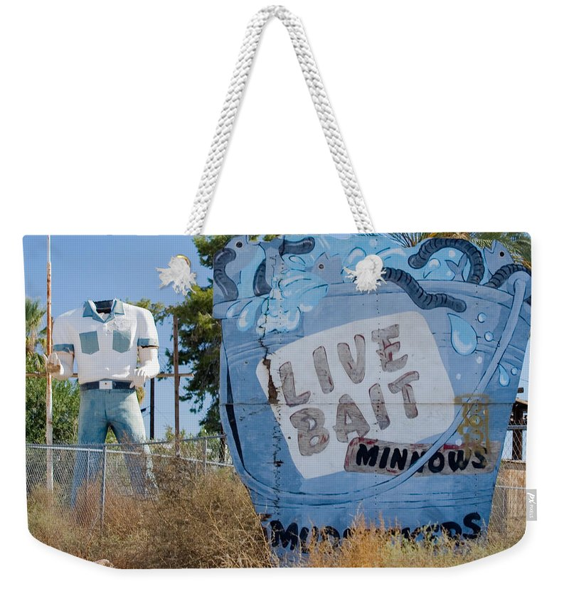 Poor Richards Mini Mart Weekender Tote Bag featuring the photograph Live Bait Sign And Muffler Man Statue by Scott Campbell
