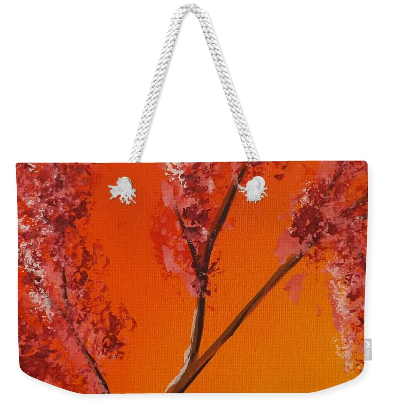 Living Loving Tree Weekender Tote Bag featuring the painting Living Loving Tree Top Left by Darren Robinson