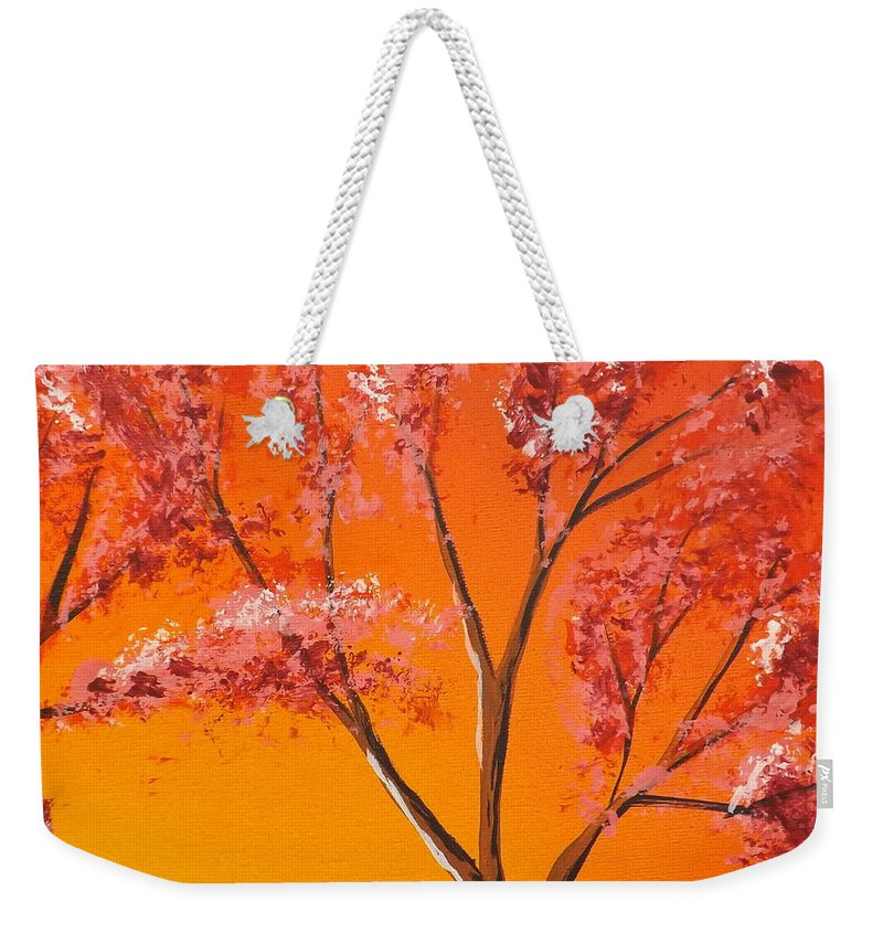 Living Loving Tree Weekender Tote Bag featuring the painting Living Loving Tree Top Right by Darren Robinson