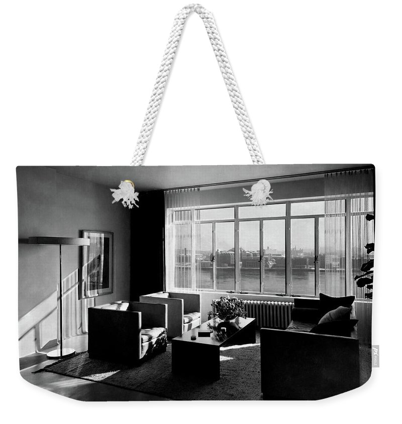 Cityscape Weekender Tote Bag featuring the photograph Living Room In The Ny Home Of Edward M. M by Emelie Danielson