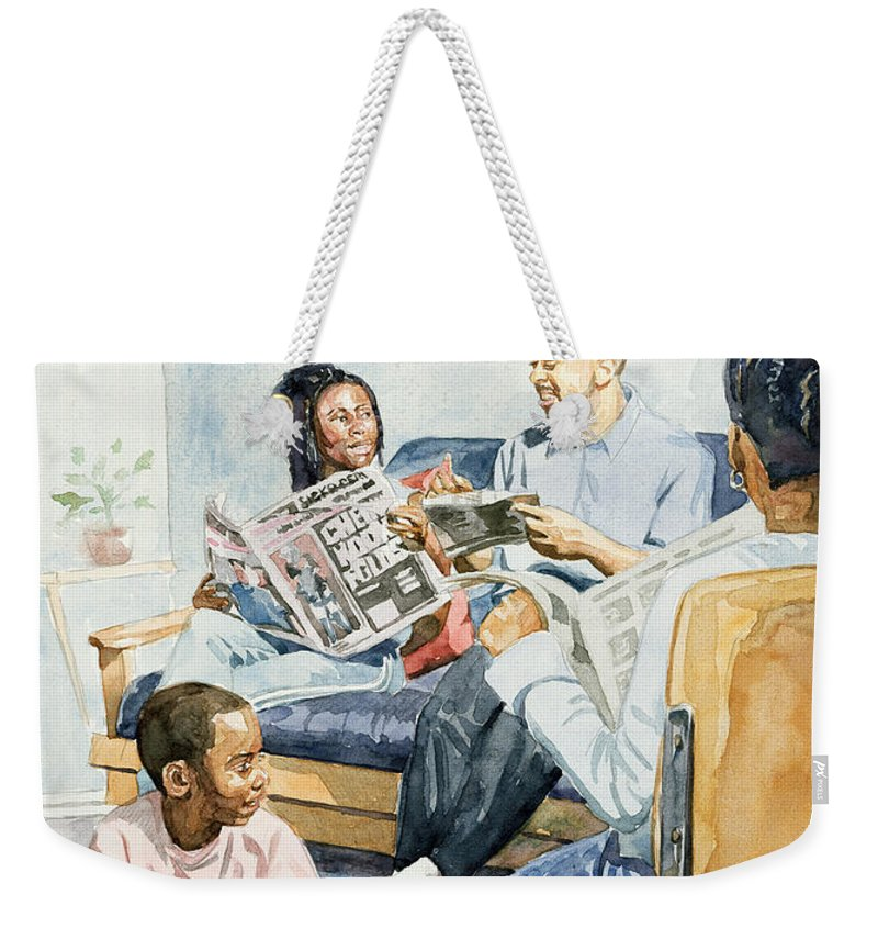 Sitting Weekender Tote Bag featuring the painting Living Room Serenades by Colin Bootman