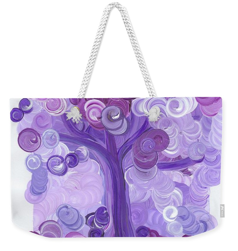 First Star Weekender Tote Bag featuring the painting Liz Dixon's Tree Purple by First Star Art