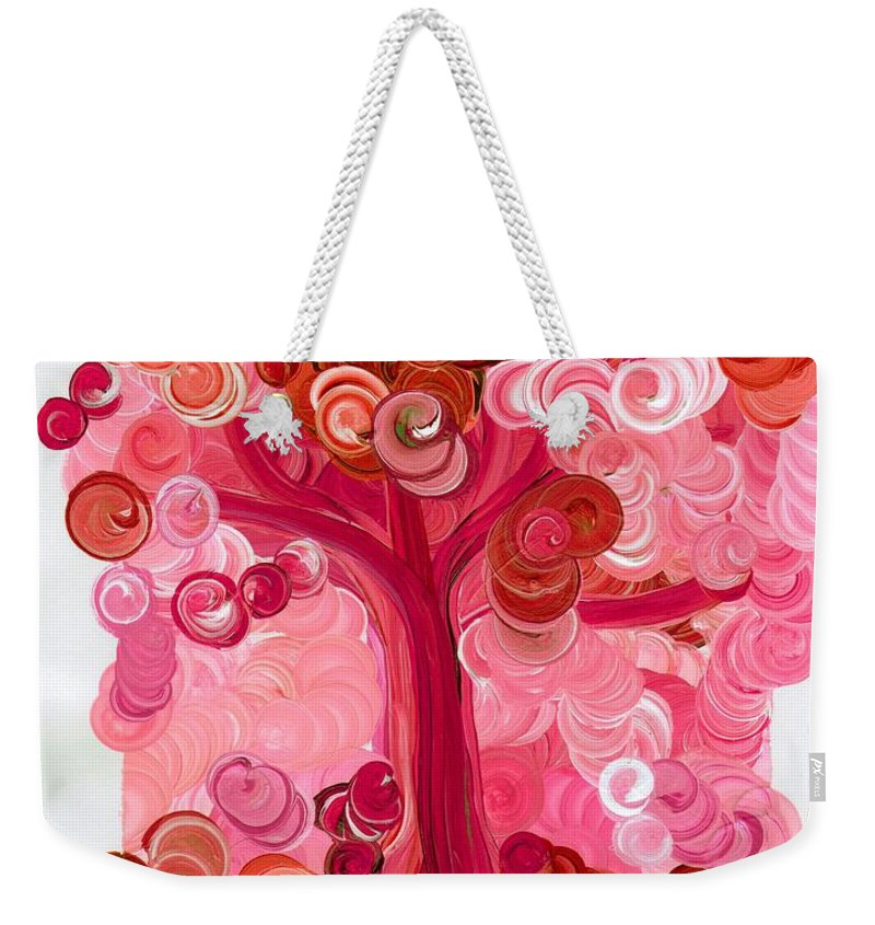 First Star Weekender Tote Bag featuring the painting Liz Dixon's Tree Red by First Star Art