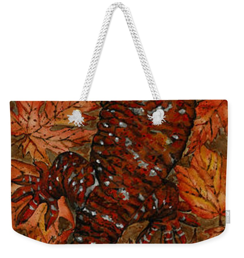 Lizard Weekender Tote Bag featuring the painting LIZARD in RED NATURE - Elena Yakubovich by Elena Yakubovich