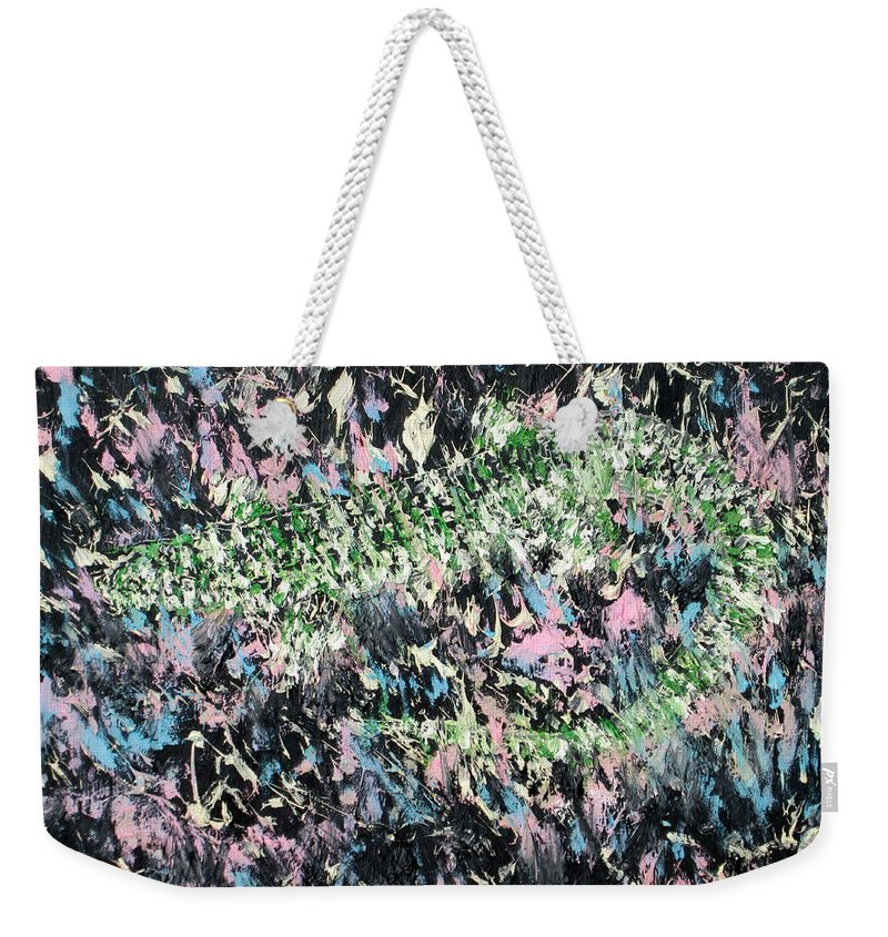 Lizard Weekender Tote Bag featuring the painting Lizard In The Grass by Fabrizio Cassetta