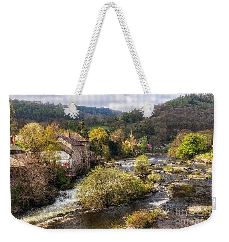Llangollen Weekender Tote Bag featuring the photograph Llangollen And The River Dee by Ann Garrett