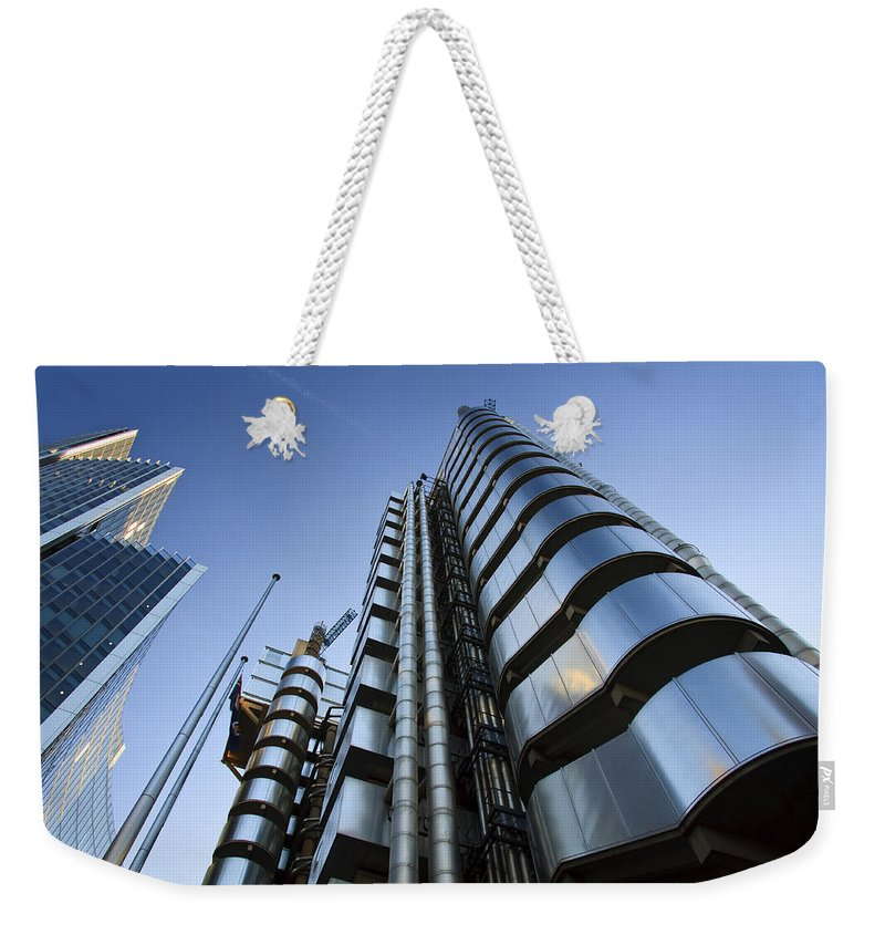 United Kingdom Weekender Tote Bag featuring the photograph Lloyd's Building. by Milan Gonda