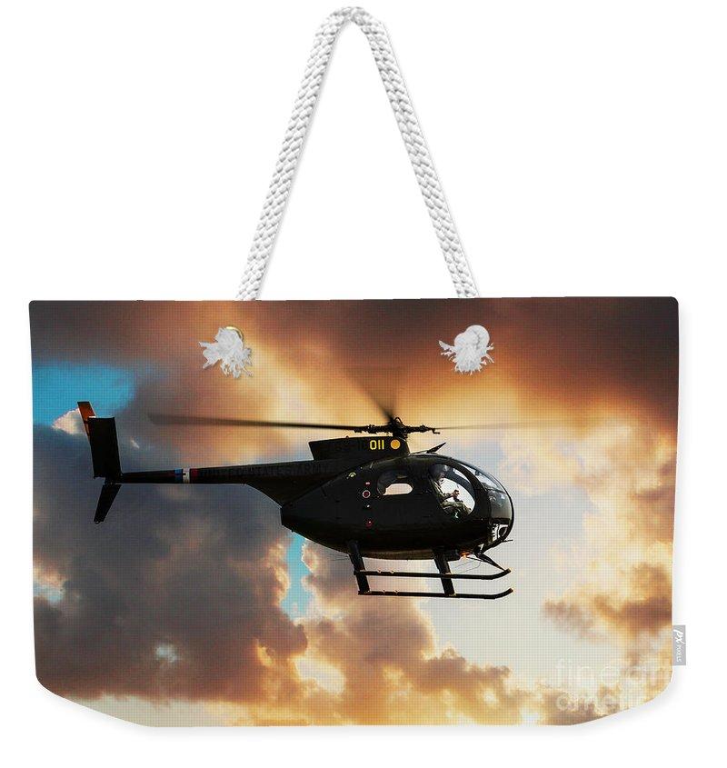 Hughes Oh-6 Cayuse Weekender Tote Bag featuring the digital art Loach by J Biggadike