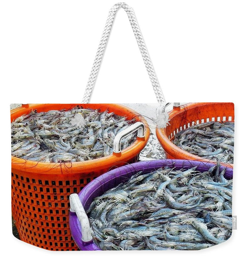 Shrimp Weekender Tote Bag featuring the photograph Loaves And Fishes by Patricia Greer