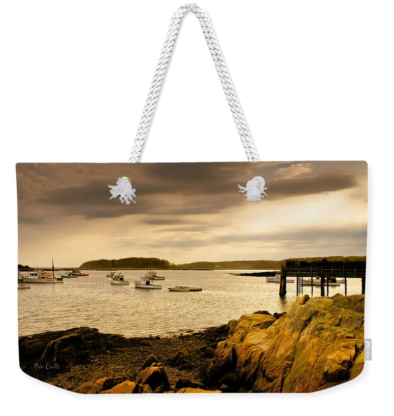 Atlantic Ocean Weekender Tote Bag featuring the photograph Lobster Boats Cape Porpoise Maine by Bob Orsillo