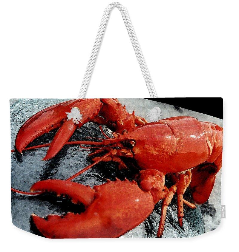 Lobster Weekender Tote Bag featuring the painting Lobster by George Pedro