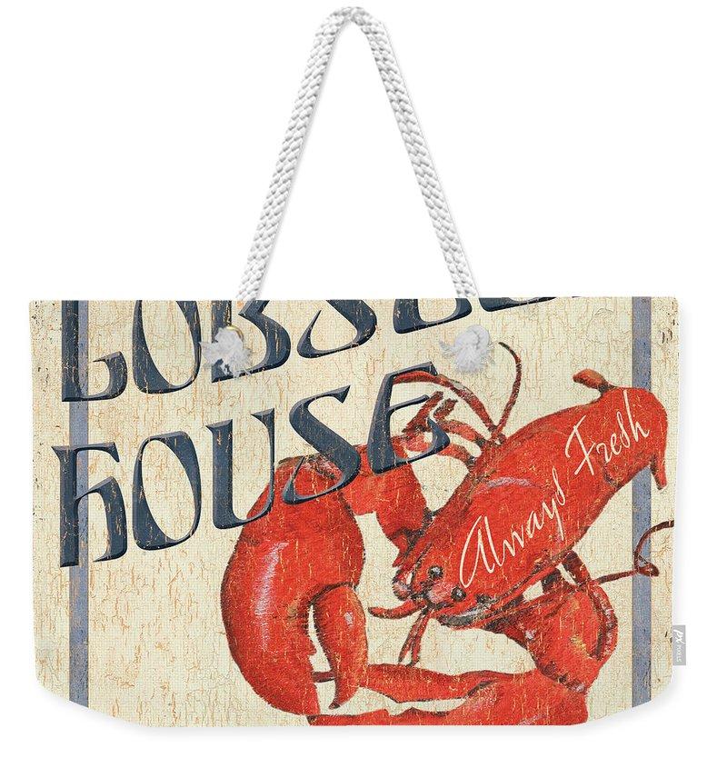Lobster Weekender Tote Bag featuring the painting Lobster House by Debbie DeWitt