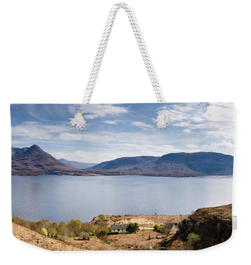 Beinn Damph Weekender Tote Bag featuring the photograph Loch Torridon Panorama by David Head