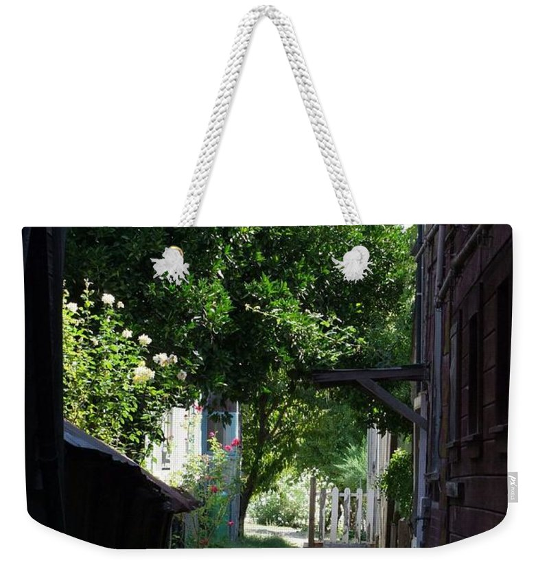 Green Weekender Tote Bag featuring the photograph Locke Chinatown Series - Alley With Trees - 5 by Mary Deal
