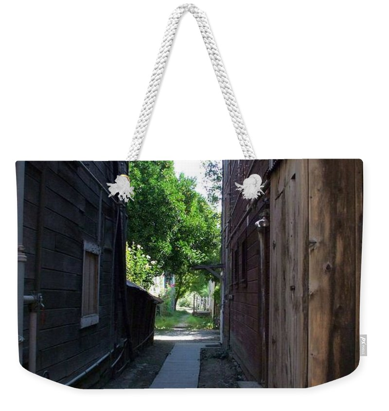 Alleyways Weekender Tote Bag featuring the photograph Locke Chinatown Series - Alleyway With Trees - 4 by Mary Deal