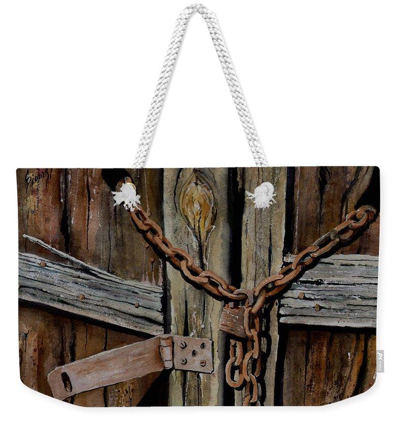 Door Weekender Tote Bag featuring the painting Locked Doors by Sam Sidders