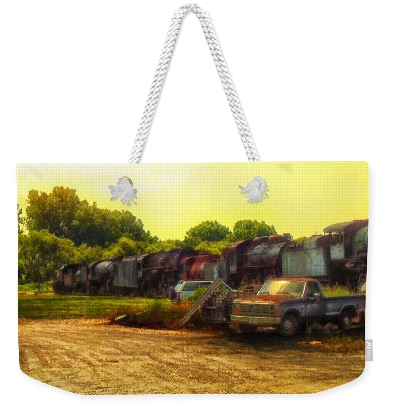 Transportation Weekender Tote Bag featuring the photograph Locomotive Graveyard by Thomas Woolworth