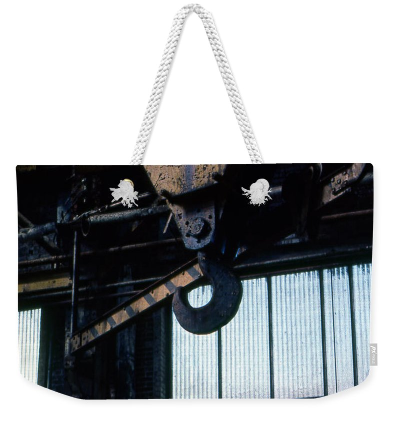 Hooks Weekender Tote Bag featuring the photograph Locomotive Hook by Richard Rizzo