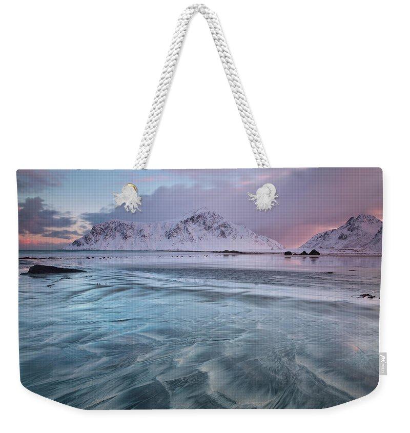 Scenics Weekender Tote Bag featuring the photograph Lofoten Island Sunrise by Antonyspencer
