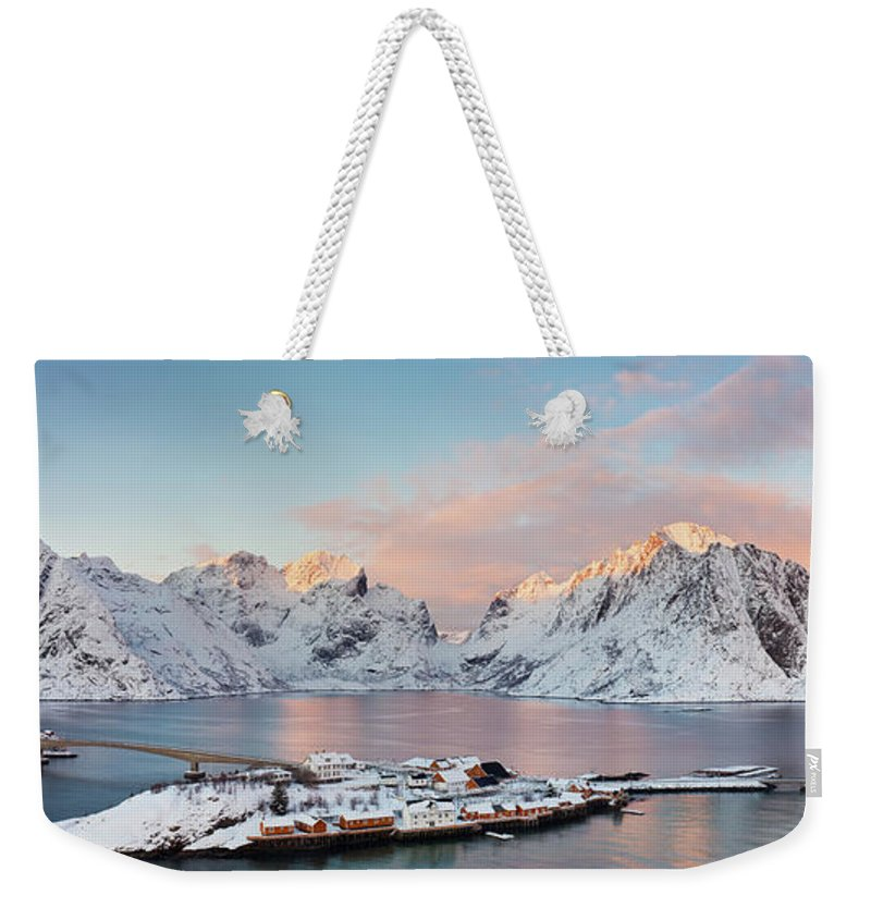 Tranquility Weekender Tote Bag featuring the photograph Lofoten Islands Winter Panorama by Esen Tunar Photography