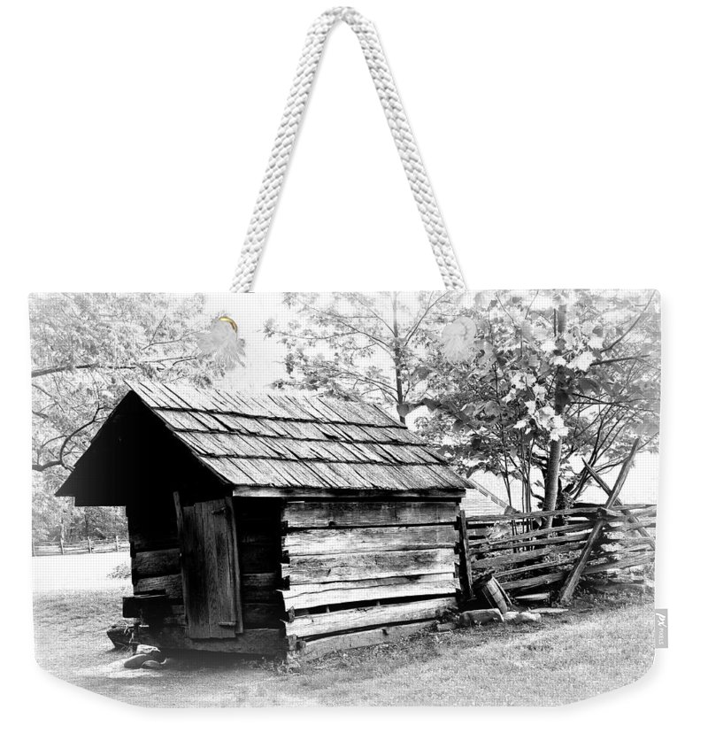 Farm Weekender Tote Bag featuring the photograph Log Shed by Todd Hostetter