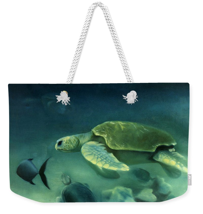 Loggerhead Turtles Weekender Tote Bag featuring the painting Loggerhead Turtle by Anni Adkins
