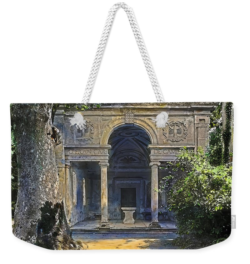 Tranquil Weekender Tote Bag featuring the painting Loggia Of The Muses by Terry Reynoldson