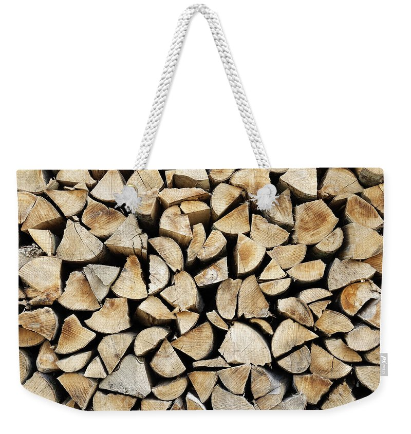 Log Weekender Tote Bag featuring the photograph Logs Background by Dutourdumonde Photography