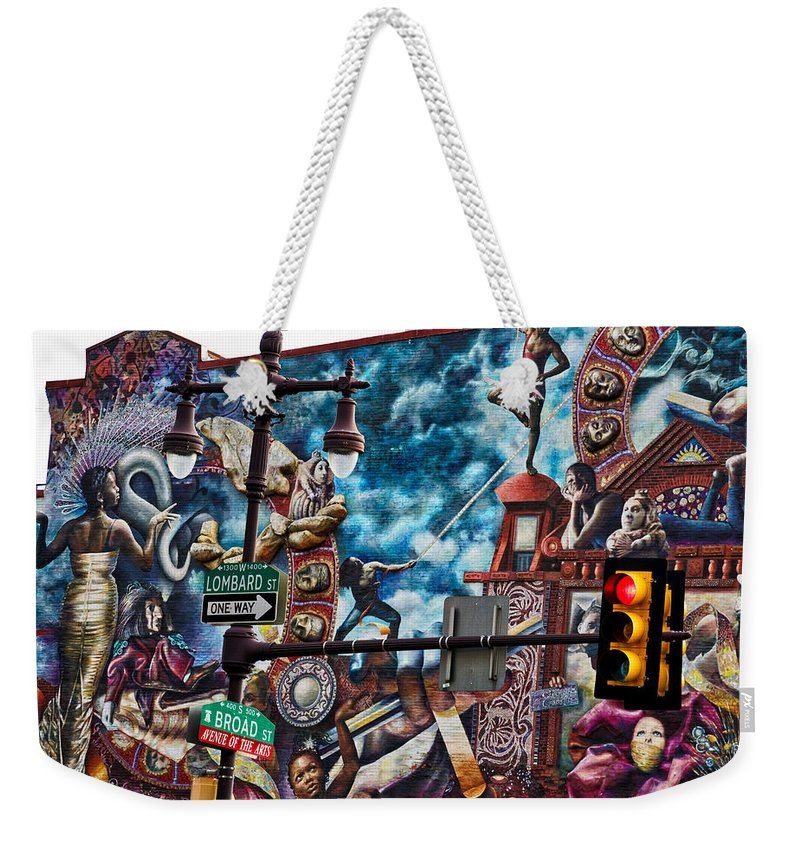 Philadelphia Mural Weekender Tote Bag featuring the photograph Lombard And Broad by Alice Gipson
