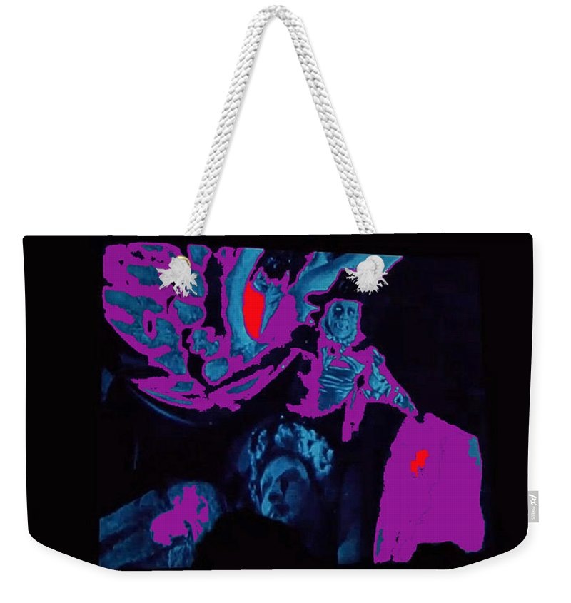 Lon Chaney Phantom Of The Opera Two Strip Color #1 1925 Color Added Weekender Tote Bag featuring the photograph Lon Chaney Phantom Of The Opera Two Strip Color Number 1 1925 1925-2009 by David Lee Guss
