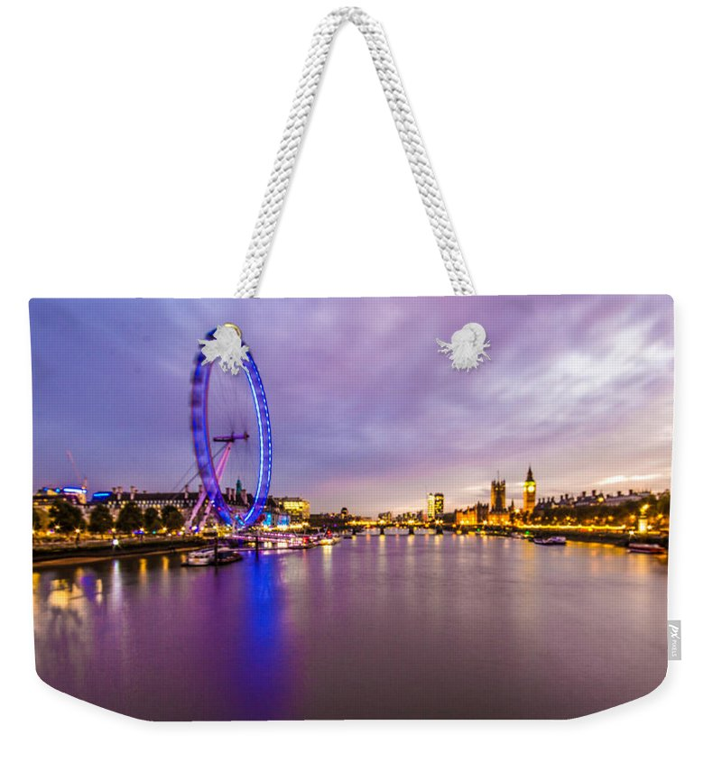 London Weekender Tote Bag featuring the photograph London At Night by Dawn OConnor