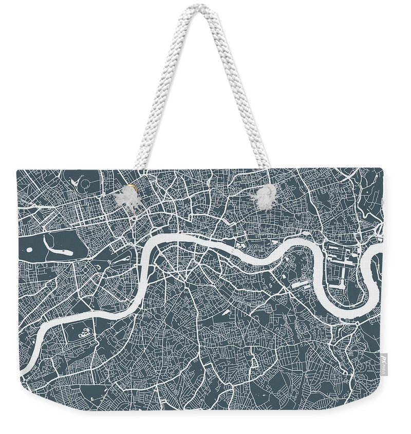 Art Weekender Tote Bag featuring the digital art London City Map by Mattjeacock