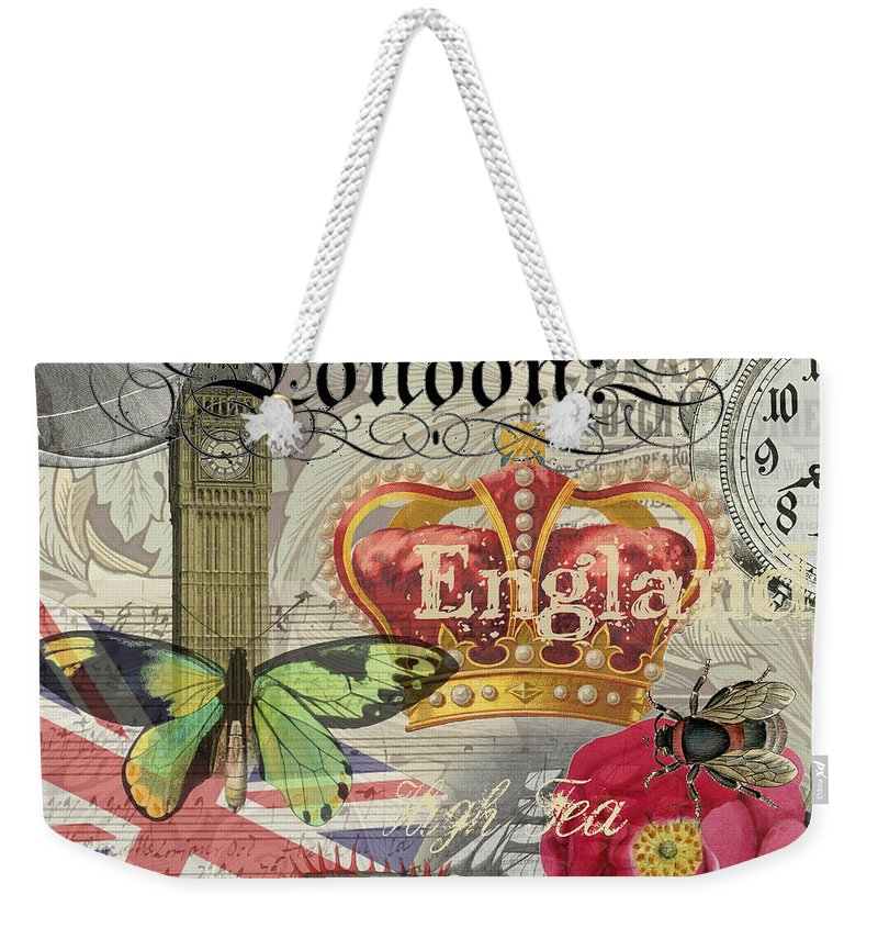 Doodlefly Weekender Tote Bag featuring the digital art London England Vintage Travel Collage by Mary Hubley