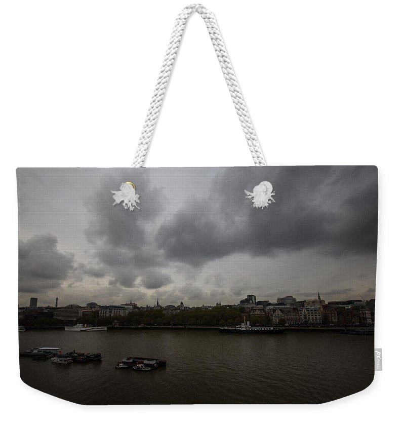 London Weekender Tote Bag featuring the photograph London River View by Dawn OConnor