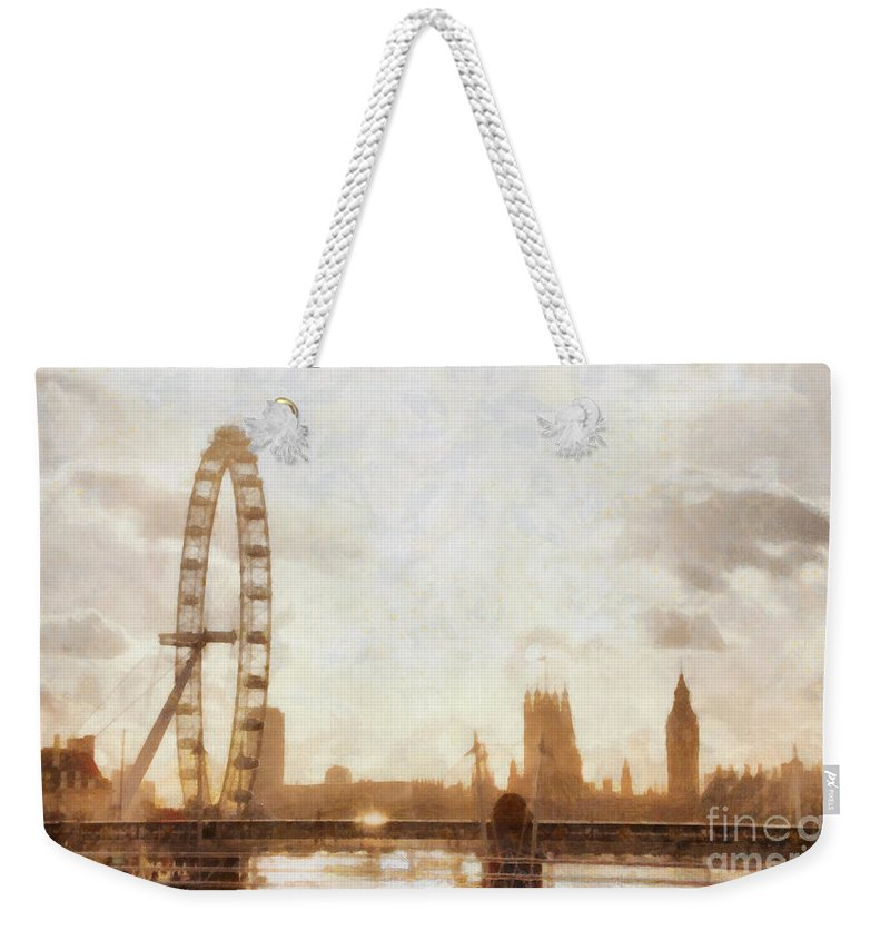 London Weekender Tote Bag featuring the painting London Skyline At Dusk 01 by Pixel Chimp