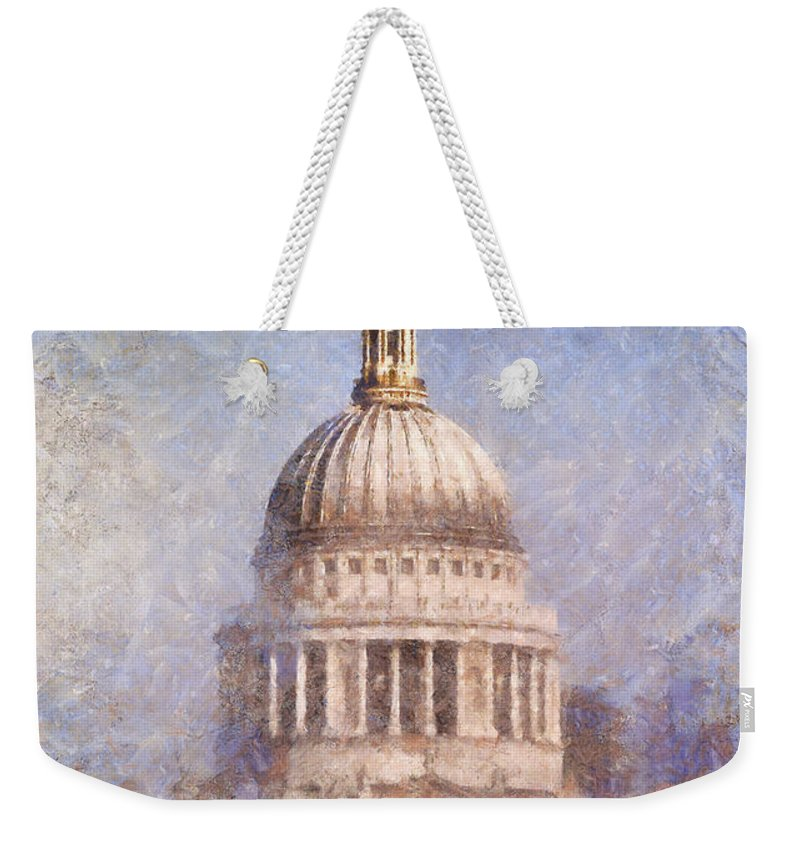 London Weekender Tote Bag featuring the painting London St Pauls Fog 02 by Pixel Chimp
