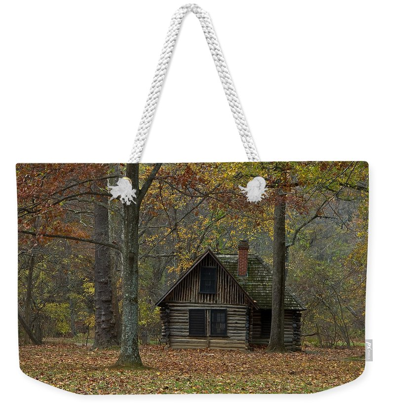 Rock Creek Park Weekender Tote Bag featuring the photograph Lone Cabin by Valerie Brown