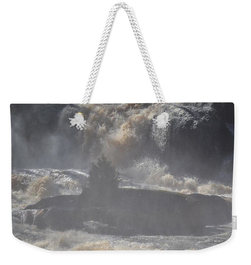 High Falls State Park Weekender Tote Bag featuring the photograph Lone Tree In The Mist by Tara Potts
