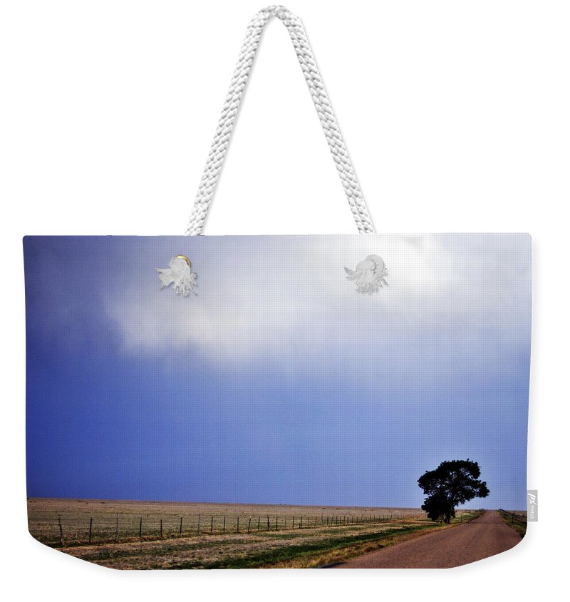 Landscape Weekender Tote Bag featuring the photograph Lone Tree by Pam Romjue