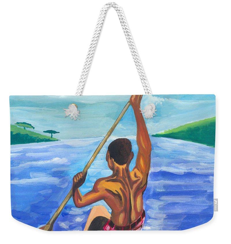 Landscapes Weekender Tote Bag featuring the painting Lonely Boatman In Rwanda by Emmanuel Baliyanga