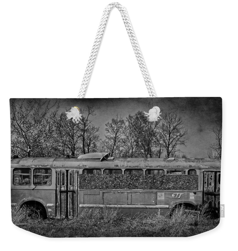 Bus Weekender Tote Bag featuring the photograph Lonely Bus by The Artist Project